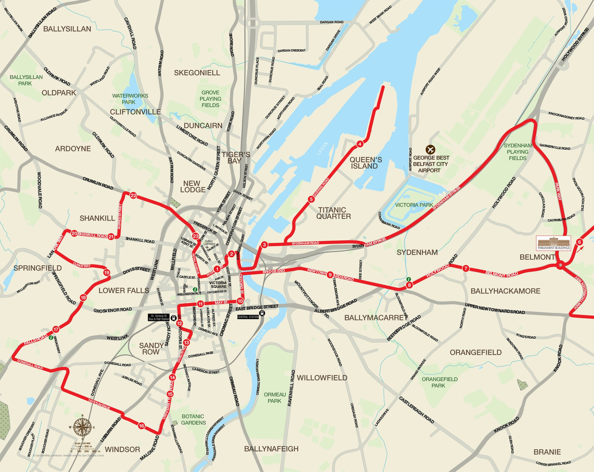 Belfast Karte.Hop On Hop Off Route Map Belfast City Sightseeing